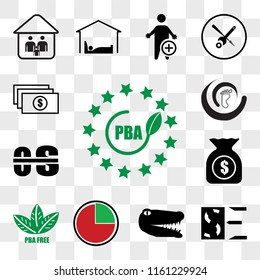 Set Of 13 transparent icons such as bpa free, SE negative, gator, proactive, accounts payable, occupational therapy, podiatry, web ui editable icon pack, transparency set