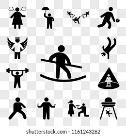 Set Of 13 transparent icons such as Tightrope Walker, Abduction, Man giving flowers, Person hunger, Warming, Abducted Man, doing exercises, web ui editable icon pack, transparency set