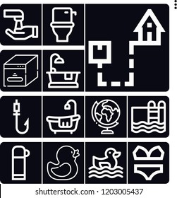 Set of 13 water outline icons such as geography, shipping, wash, ugly duckling, rubber duck, swimming pool, bikini, cube, thermo, toilet, bathtub