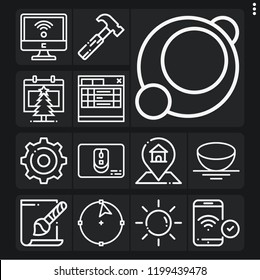Set of 13 web outline icons such as phone, hammer, sun, gps, svg file, settings, calendar, wifi, mouse, sphere, circle