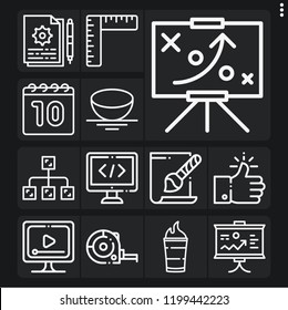 Set of 13 web outline icons such as ruler, video player, b, coding, like, svg file, diagram, presentation, instructions, strategy, calendar