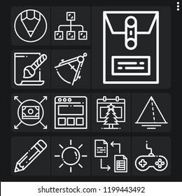 Set of 13 web outline icons such as landing page, compass, sun, gamepad, pencil, svg file, calendar, diagram, exchange, money, dossier