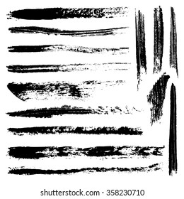 Set of 14 artistic mascara brush strokes. Qualitative trace of real mascara texture. Different black lines isolated on a white background.