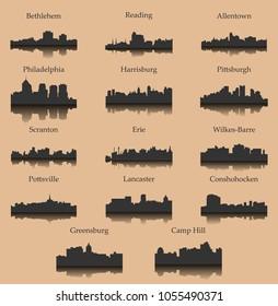 Set of 14 city silhouette in Pennsylvania (Philadelphia, Bethlehem, Harrisburg, Pittsburg, Erie, Lancaster, Reading, Allentown, Scranton, Pottsville, Greensburg, Camp Hill, Wilkes-Barre, Conshohocken)