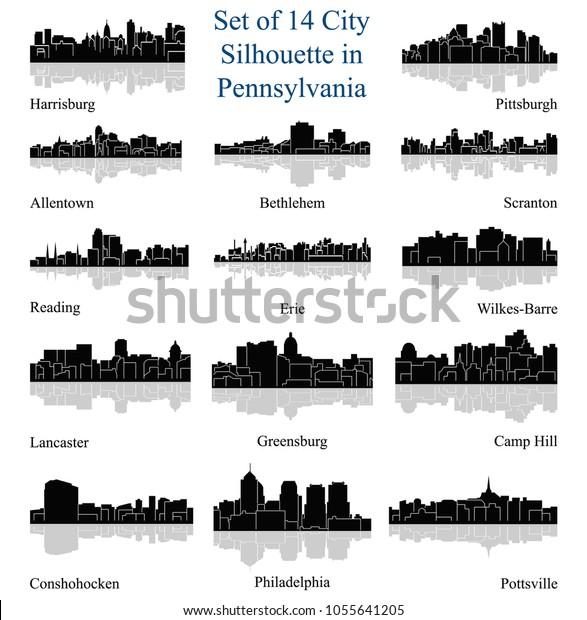 Set 14 City Silhouette Pennsylvania Philadelphia Stock