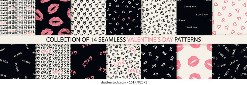 Set of 14 elegant seamless patterns with hand drawn decorative hearts, design elements. Romantic patterns for wedding invitations, greeting cards, scrapbooking, print, gift wrap. Valentines day