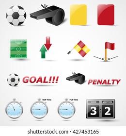 Set of 14 football icon. Vector illustration