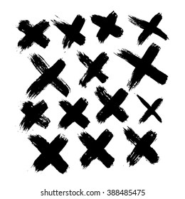 Set of 14 grunge black abstract textured vector crosses. Vector design grunge elements. Vector abstract crosses. Vintage vector shapes. Retro vector shapes.