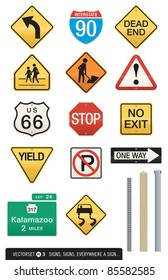 Set of 14 Highway Sign Vectors. Includes three interchangeable post designs. Editable colors and shapes.