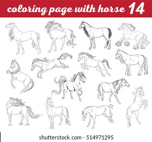 set of 14 horses colorings