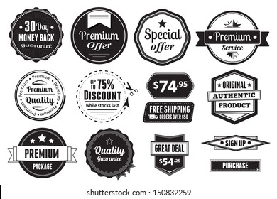 A set of 14 vector graphics, including badges, buttons and price tags.