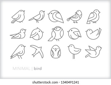 Set of 15 bird line icons of abstract geometric animals such as pets, in a zoo, in the wild or for bird watching