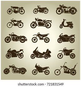 Set of 15 brown icons of different motorcycles on a beige background