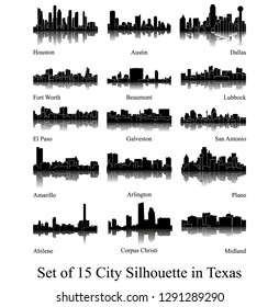 Set of 15 City Silhouette in Texas ( Houston, Austin, Dallas, Fort Worth, Amarillo, Lubbock, El Paso, Arlington, San Antonio, Galveston, Plano, Beaumont, Abilene, Corpus Christi, Midland )