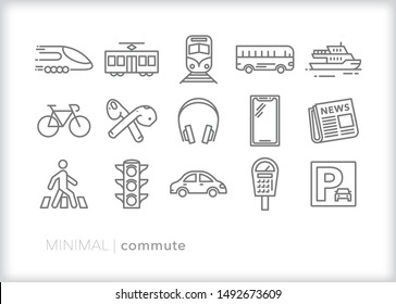 Set of 15 commute line icons for getting to work by foot, bicycle, car, bus, train or ferry