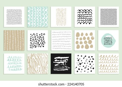 Set of 15 creative cards. Hand Drawn textures made with ink. Vector. Isolated.