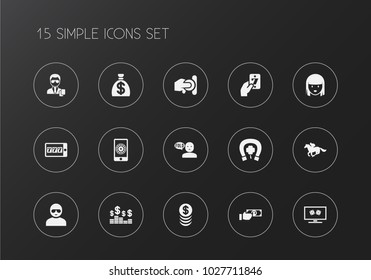 Set of 15 editable casino icons. Includes symbols such as greenback, security, man in glasses and more. Can be used for web, mobile, UI and infographic design.