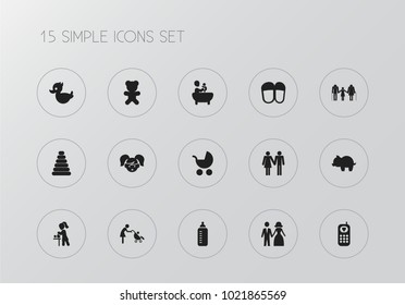 Set of 15 editable family icons. Includes symbols such as changing cloth infant, girl, phone and more. Can be used for web, mobile, UI and infographic design.