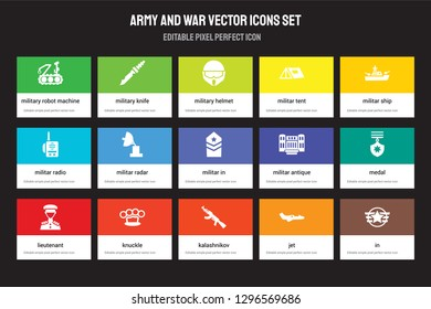 Set of 15 flat army and war icons - Military robot machine, Knife, Kalashnikov, militar ship, lieutenant. Vector illustration isolated on colorful background