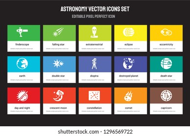 Set of 15 flat astronomy icons - Finderscope, Falling star, Constellation, Eccentricity, Day and night, Destroyed planet, Death Comet. Vector illustration isolated on colorful background