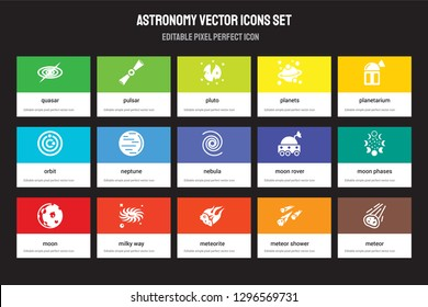Set of 15 flat astronomy icons - Quasar, Pulsar, Meteorite, Planetarium, Moon, Moon rover, phases, Meteor shower. Vector illustration isolated on colorful background