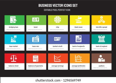 Set of 15 flat business icons - Bridging loan, Bond, Average earnings growth, Bid-offer spread, Balance sheet. Vector illustration isolated on colorful background