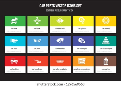 Set of 15 flat car parts icons - lock, jack, grille or radiator grille, hubcap, hard top. Vector illustration isolated on colorful background