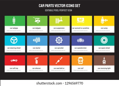 Set of 15 flat car parts icons - tailpipe, tailgate, seat belt or safety belt, sump, soft top. Vector illustration isolated on colorful background