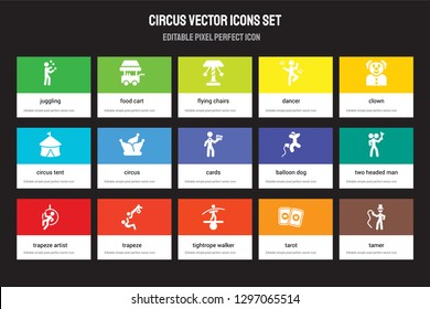 Set of 15 flat circus icons - Juggling, Food cart, Tightrope walker, Clown, Trapeze artist, Balloon dog, Two headed man, Tarot. Vector illustration isolated on colorful background