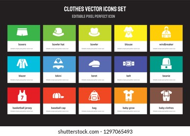 Set of 15 flat clothes icons - Boxers, Bowler hat, Bag, windbreaker, Basketball jersey, Belt, Beanie, Baby Grow. Vector illustration isolated on colorful background