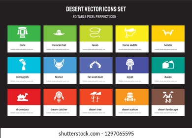 Set of 15 flat desert icons - Mine, Mexican Hat, Desert Tree, Holster, Dromedary, Egypt, Dunes, saloon. Vector illustration isolated on colorful background