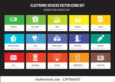 Set of 15 flat electronic devices icons - rotisserie, Rice cooker, Monitor, Printer, Oven, percolator, Pendrive, Mobile phone. Vector illustration isolated on colorful background