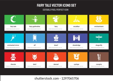 Set of 15 flat fairy tale icons - Fairy tale, godmother, damsel, enchantment, Dracula, drawbridge, Dragonfly, Cyclops. Vector illustration isolated on colorful background