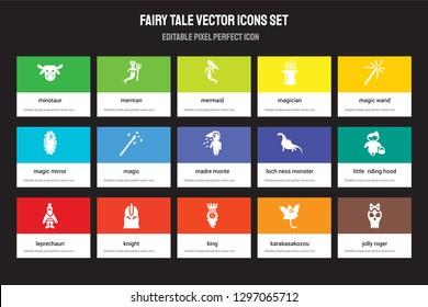 Set of 15 flat fairy tale icons - Minotaur, Merman, King, Magic wand, Leprechaun, Loch ness monster, Little  riding hood, Karakasakozou. Vector illustration isolated on colorful background