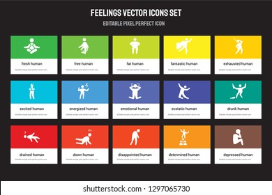 Set of 15 flat feelings icons - fresh human, free disappointed exhausted drained human. Vector illustration isolated on colorful background