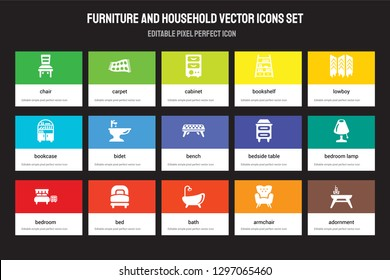Set of 15 flat furniture and household icons - Chair, Carpet, Bath, lowboy, Bedroom, Bedside table, Bedroom lamp, Armchair. Vector illustration isolated on colorful background