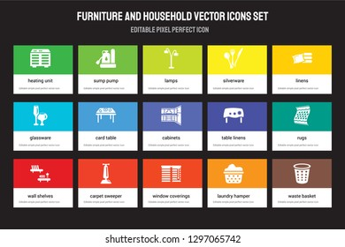 Set of 15 flat furniture and household icons - Heating Unit, Sump Pump, Window coverings, Linens, Wall Shelves, Table Rugs, Laundry hamper. Vector illustration isolated on colorful background