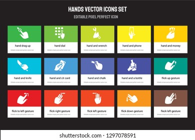 Set of 15 flat hands icons - hand Drag Up, Dial, Flick Left gesture, Hand and Money, to gesture. Vector illustration isolated on colorful background