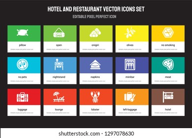 Set of 15 flat hotel and restaurant icons - Pillow, Open, Lobster, No smoking, Luggage, Minibar, Meat, Left-luggage. Vector illustration isolated on colorful background