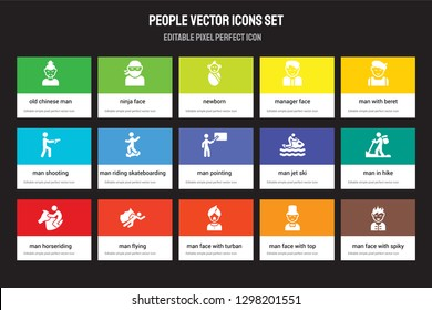 Set of 15 flat people icons - Old chinese man, Ninja face, Man face with turban and beard, beret, Horseriding. Vector illustration isolated on colorful background