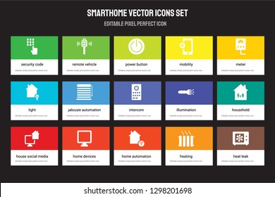 Set of 15 flat smarthome icons - Security code, Remote vehicle, Home automation, Meter, House Social media, Illumination, Household, Heating. Vector illustration isolated on colorful background