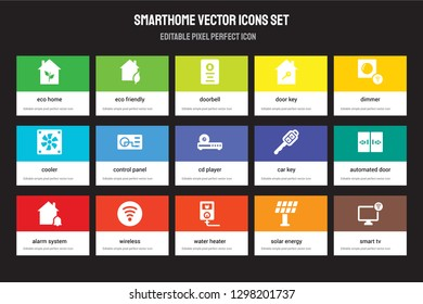 Set of 15 flat smarthome icons - Eco home, friendly, Water heater, Dimmer, alarm system, Car key, automated door, Solar energy. Vector illustration isolated on colorful background