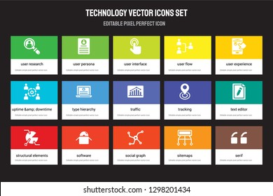 Set of 15 flat technology icons - User research, Persona, Social graph, Experience, Structural Elements, Tracking, Text editor, Sitemaps. Vector illustration isolated on colorful background