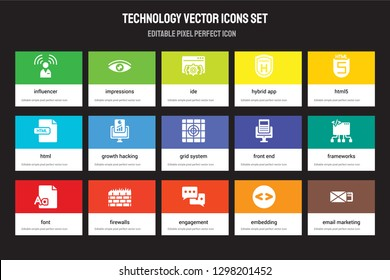 Set of 15 flat technology icons - Influencer, Impressions, Engagement, HTML5, Font, Front end, Frameworks, Embedding. Vector illustration isolated on colorful background
