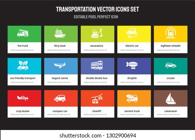 Set of 15 flat transportation icons - Fire truck, Ferry boat, chairlift, eighteen-wheeler, crop duster, dirigible, Cruiser, Cement truck. Vector illustration isolated on colorful background