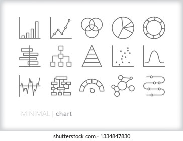 Set of 15 gray chart line icons showing various ways data or statistics can be illustrated through graphics, charts, diagrams, timelines and plot points
