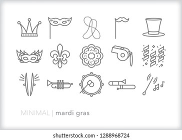 Set of 15 gray Mardi Gras icons for the New Orleans party and celebration with bands, parade, percussion, musical instruments, beads, king cake and masks
