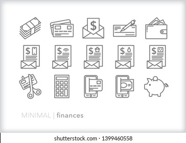 Set of 15 gray personal finance line icons representing cash, credit card, pay day, paycheck, checkbook, bills due, wallet, savings, retirement savings, debt, mobile banking and mobile pay