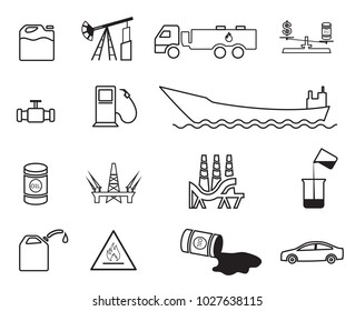 Set of 15 line vector oil icons