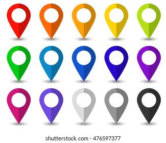 Set of 15 map pointer icons with soft shadow in flat style. Vector collection of markers in different colors. Specifies location point of objects on the maps or charts.